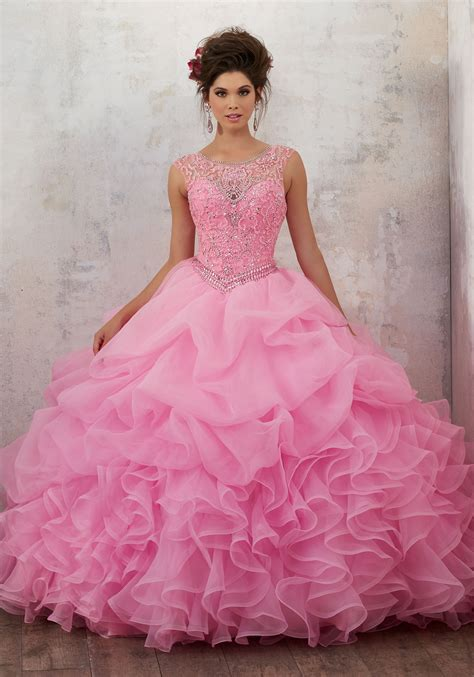 Jeweled Beading on a Ruffled Organza Ballgown | Style
