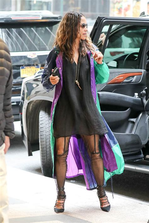 Halle Berry's pre-MET raincoat while out in NYC