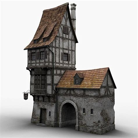 fantasy old blacksmith house, a 3D model but stunning none
