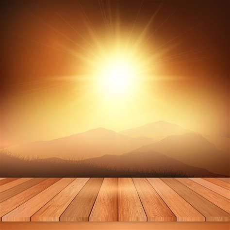 Wooden table looking out to sunny landscape - Download