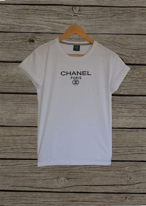 Coco Chanel Shirt in White Inspired CC Chanel Logo by