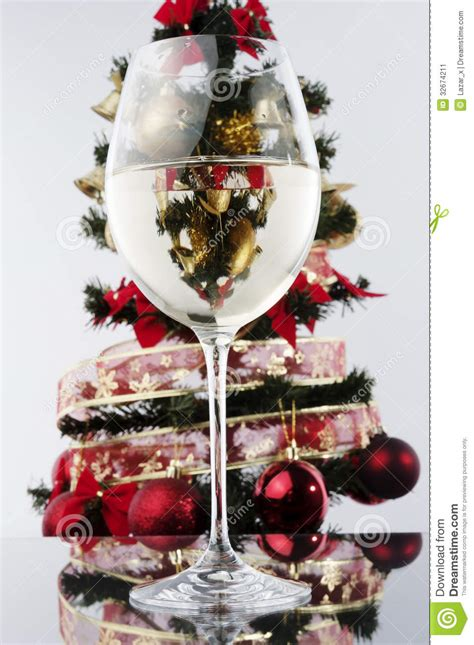 Wine Glass And Christmas Tree Stock Image - Image of front