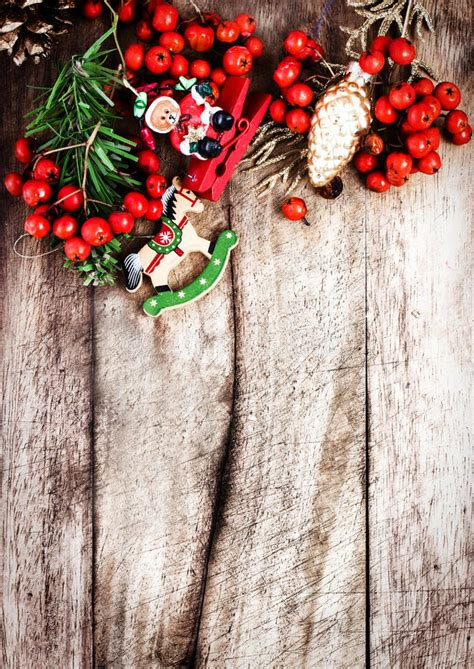 Christmas Border With Copy Space On Wooden Old Background